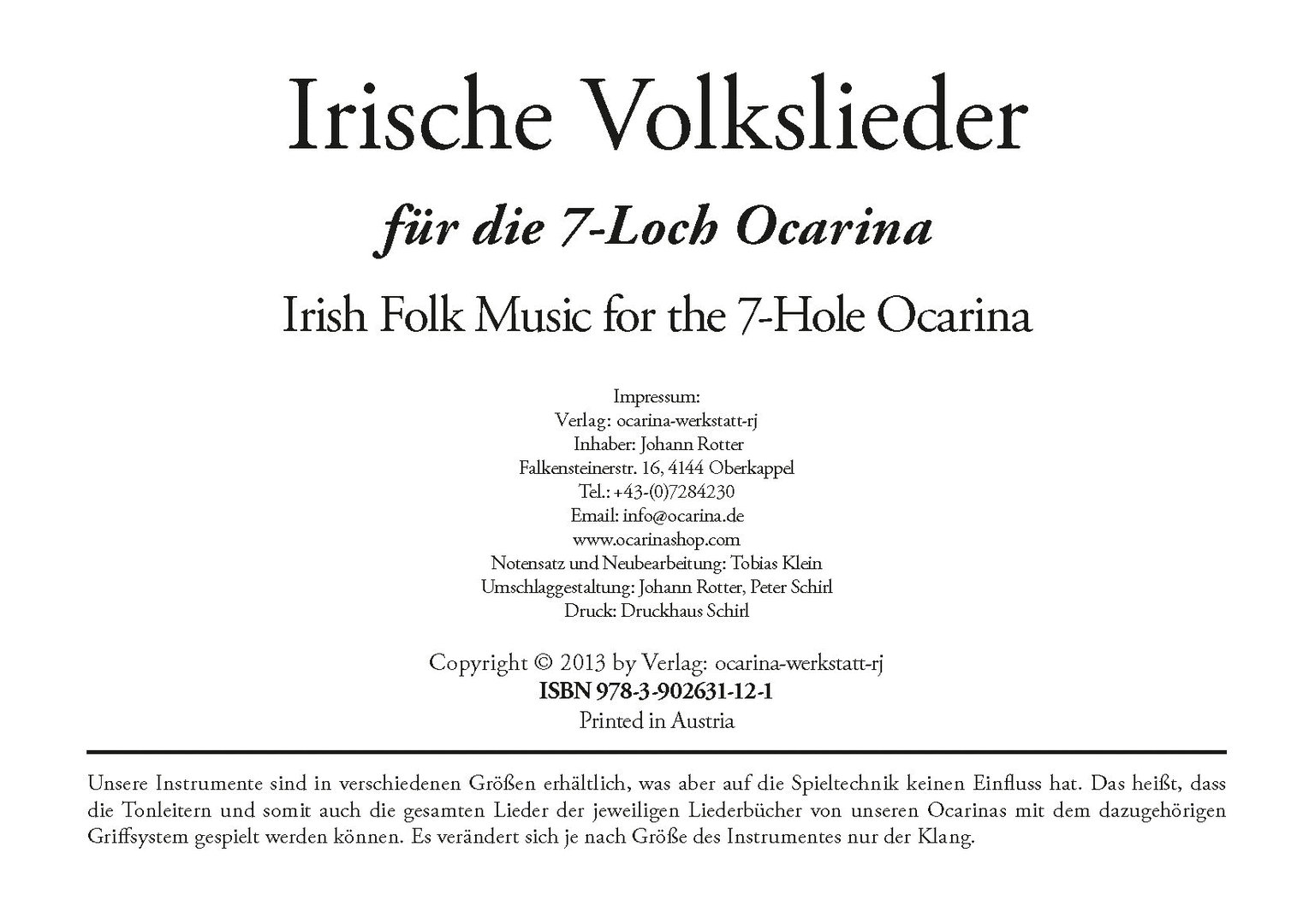 Irische Volkslieder 7 Hole (Irish Folk Music) - Ocarina Musikhaus
